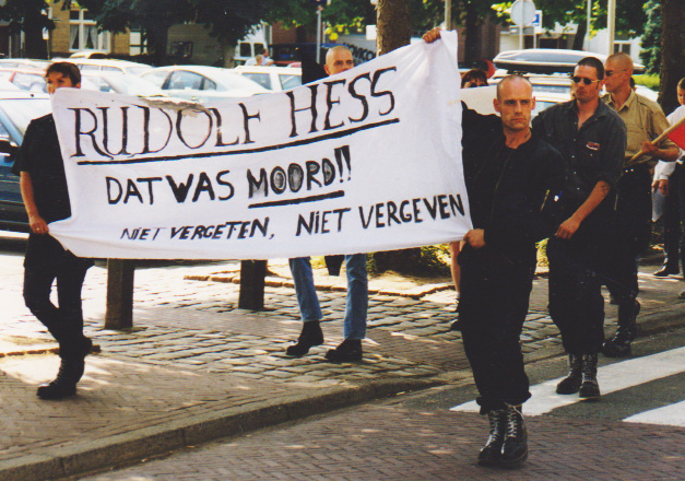 Jasper Ruytenbeek (right with sunglasses) demonstration Germanic Youth Netherlands, Valkenburg July 1999